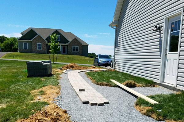 Custom Walkway in Progress - Landscaping Services in Chambersburg & Shippensburg, PA